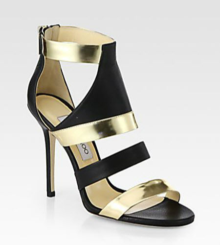 Jimmy Choo Besso Metallic Mirror Leather Sandals
