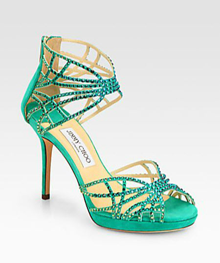 Jimmy Choo Dina Shimmer Crystal-Coated Sandals