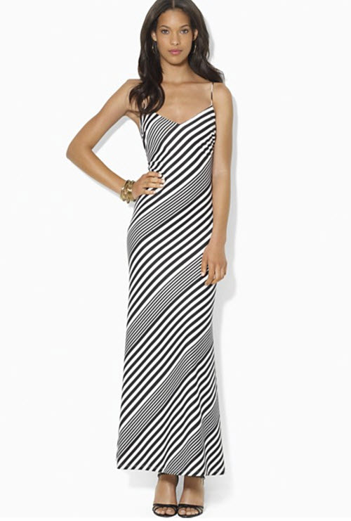 Lauren Ralph Lauren Striped Jersey Maxi Dress