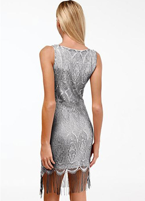 Silver Fringe Hem Dress 2