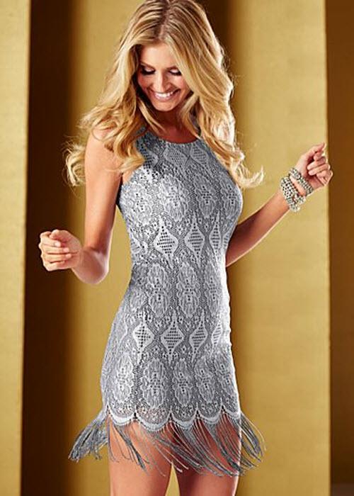 Silver Fringe Hem Dress