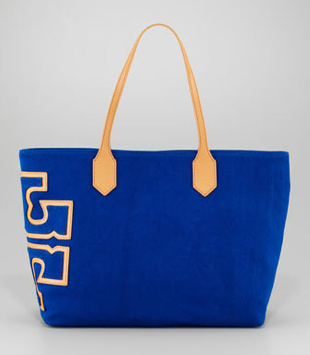 Tory Burch Canvas Stacked-Logo Tote Bag