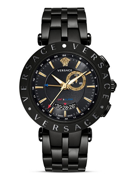 Versace V-Race GMT Alarm Stainless Steel and Black PVD Watch