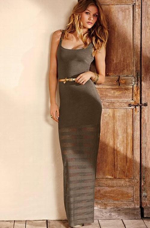 Victoria's Secret Sheer-Bottom Maxi Dress