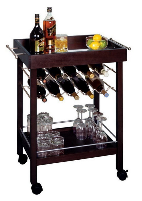 Winsome Wood Bar Cart with Wine Rack