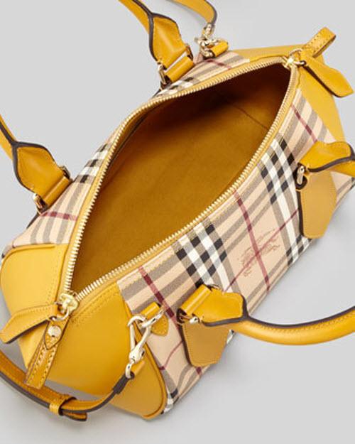 Burberry Small Check Leather Crossbody Satchel Bag 2