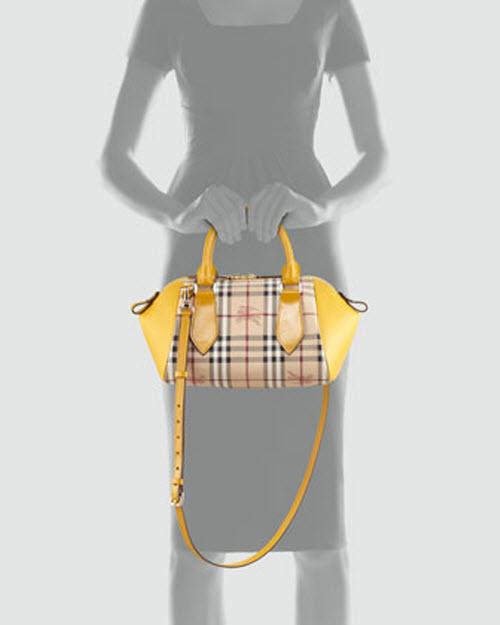 Burberry Small Check Leather Crossbody Satchel Bag 4