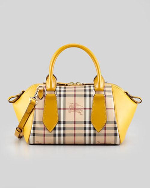 Burberry Small Check Leather Crossbody Satchel Bag