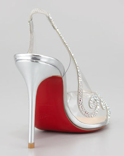 Christian Louboutin Au Hameau Clear Crystal-Swirl Red Sole Slingback 3