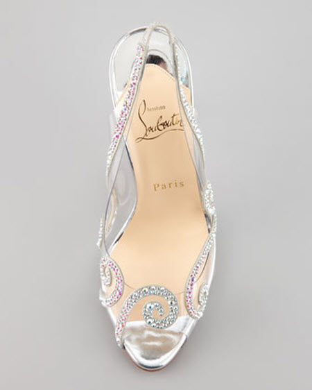 Christian Louboutin Au Hameau Clear Crystal-Swirl Red Sole Slingback 4