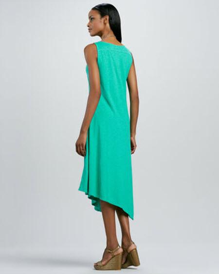 Eileen Fisher Slub V-Neck Handkerchief-Hem Dress 2