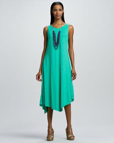 Eileen Fisher Slub V-Neck Handkerchief-Hem Dress