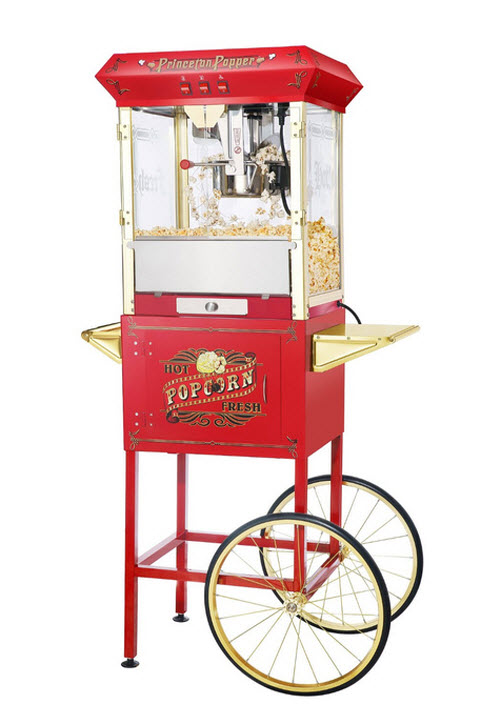 Great Northern Popcorn Red Princeton Antique Style Popcorn Popper Machine Complete with Cart