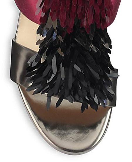 Jimmy Choo Fedora Fringe Snakeskin & Metallic Leather Sandals 2