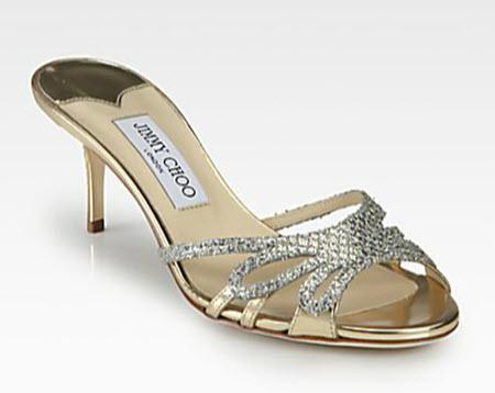 Jimmy Choo Mimi Glitter & Metallic Leather Slides