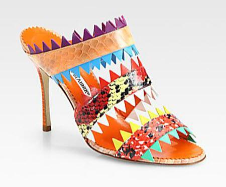 Manolo Blahnik Piñata Snakeskin Sandals
