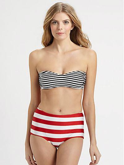 Norma Kamali Striped Bandeau Bikini Top & Striped High-Waisted Bikini Bottom 2