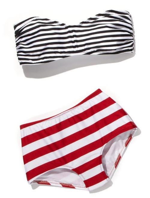 Norma Kamali Striped Bandeau Bikini Top & Striped High-Waisted Bikini Bottom