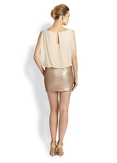Aidan Mattox Sequined-Skirt Chiffon Dress 2