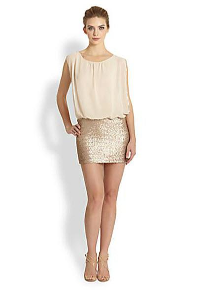 Aidan Mattox Sequined-Skirt Chiffon Dress