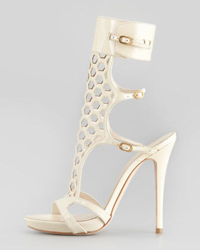 Alexander McQueen Honeycomb Patent Cage Sandal 2