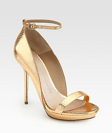 Burberry Prorsum Chester Snakeskin Ankle Strap Sandals
