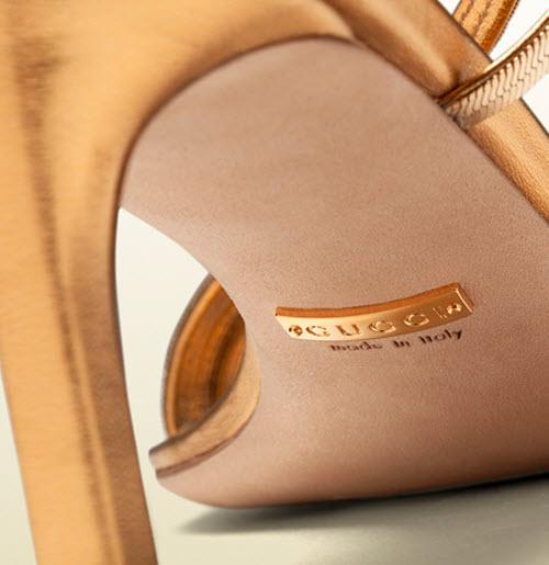 Gucci Othilia Gold Chain Mid Heel Sandal 4
