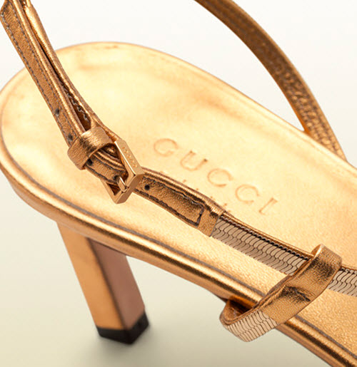 Gucci Othilia Gold Chain Mid Heel Sandal 5