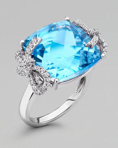 Kiki McDonough Diamond Bow 18k Gold Blue Topaz Ring