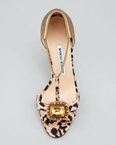 Manolo Blahnik Drina Leopard-Print T-Strap Sandal 2
