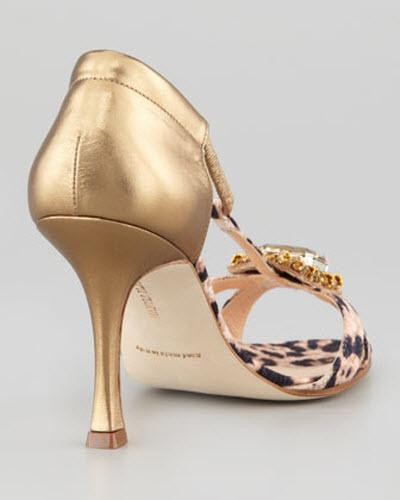Manolo Blahnik Drina Leopard-Print T-Strap Sandal 3