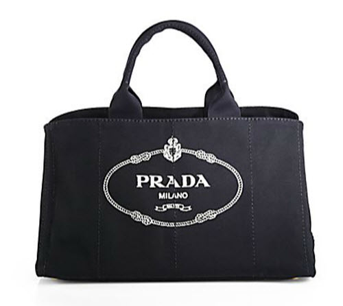 Prada Logo Printed Large Canvas Tote