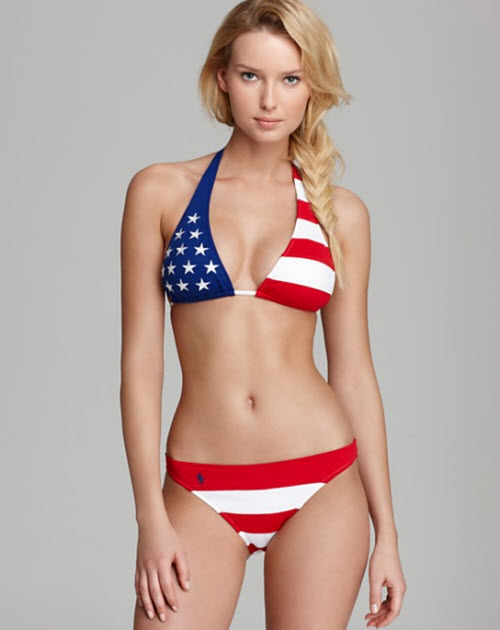 Ralph Lauren Blue Label Stars and Stripes Bikini Top & Hipster Bikini Bottom