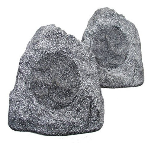 Theater Solutions 2R4G Outdoor Garden Waterproof Granite Rock Patio Speaker Pair