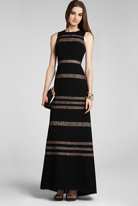 BCBGMAXAZRIA Sleeveless Sheer Inset Gown