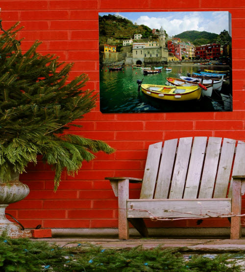 Blue Garden Designs Boat In Vernazza Outdoor Picture on Canvas 2