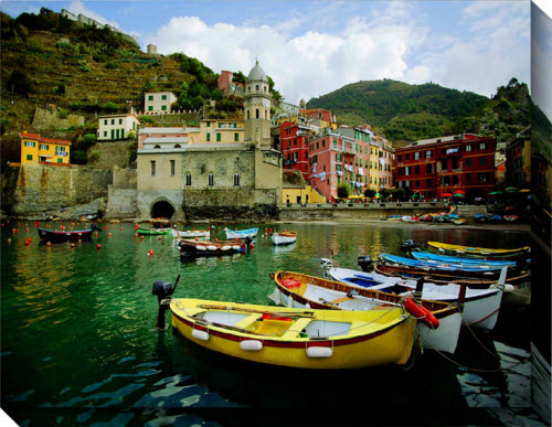 Blue Garden Designs Boat In Vernazza Outdoor Picture on Canvas