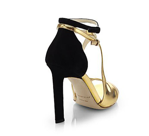 Brian Atwood Hester Metallic Leather & Suede Sandals 2