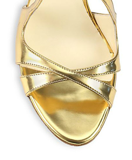 Brian Atwood Hester Metallic Leather & Suede Sandals 3