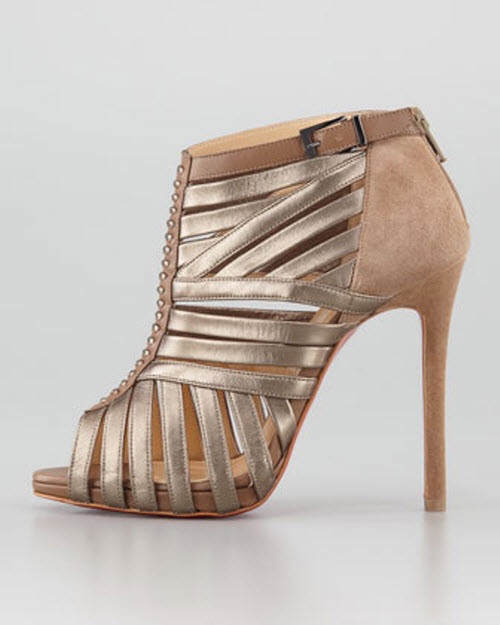 Christian Louboutin Karina Caged Red-Sole Ankle Bootie 2