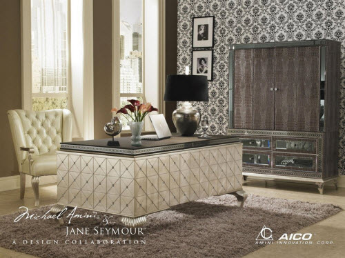 Hollywood Swank Cavier Desk From Aico Amini and Jane Seymour's Design Collection 2