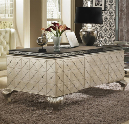 Hollywood Swank Cavier Desk From Aico Amini and Jane Seymour's Design Collection