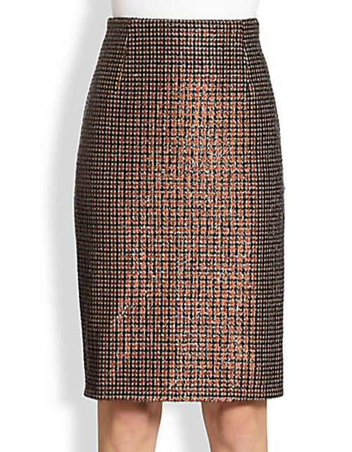Marc Jacobs Sequined Houndstooth Pencil Skirt