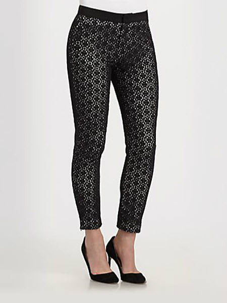 Marc by Marc Jacobs Collage Cropped Lace-Overlay Skinny Pants