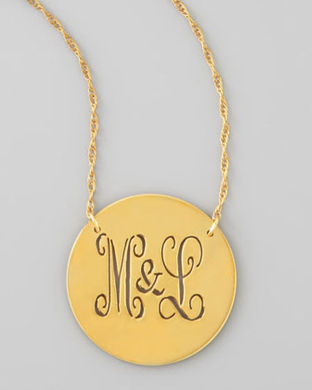 Moon and Lola Gold Disc Cutout Script Monogram Necklace