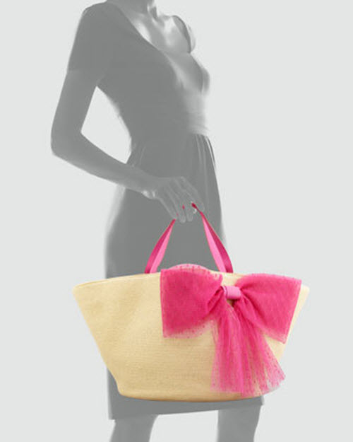 RED Valentino Point d'Esprit Straw Tote Bag 2