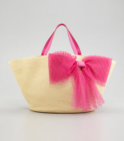 RED Valentino Point d'Esprit Straw Tote Bag