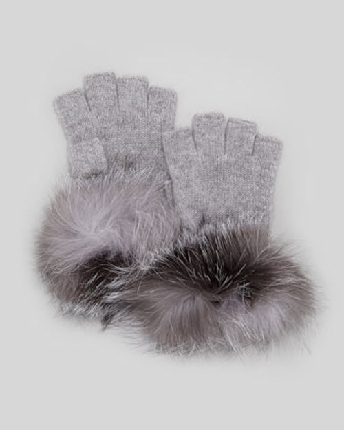 Sofia Cashmere Fur-Cuff Fingerless Cashmere Gloves 2