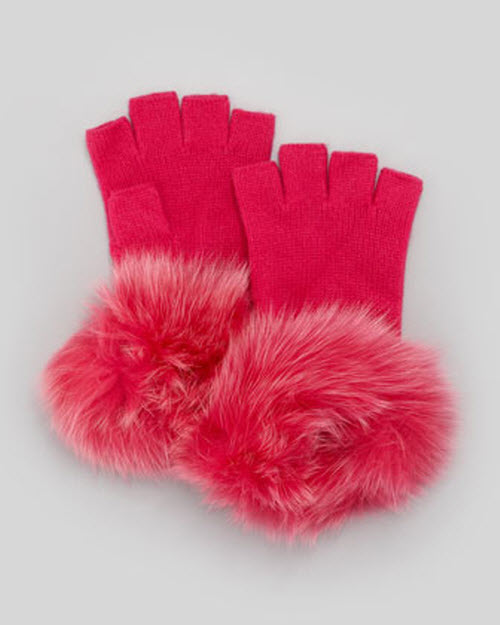 Sofia Cashmere Fur-Cuff Fingerless Cashmere Gloves 3