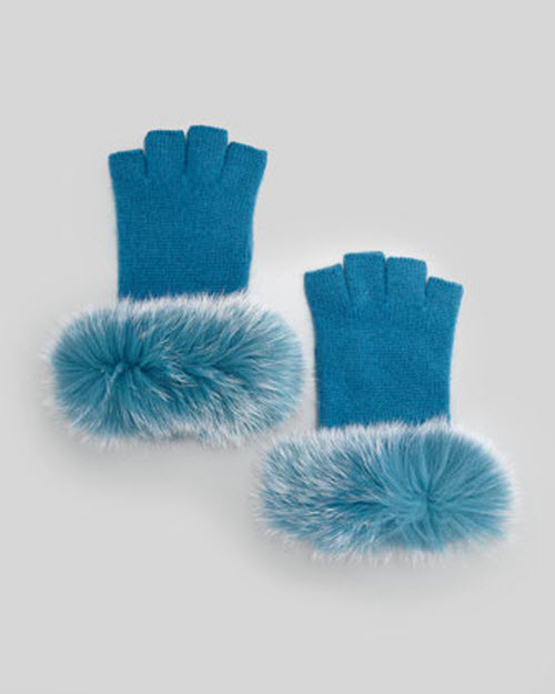 Sofia Cashmere Fur-Cuff Fingerless Cashmere Gloves 4